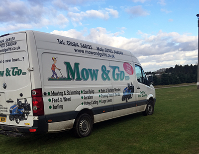 Mow and go van for cutting large lawns